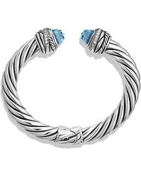 David Yurman - Cable Classic Crossover Bracelet With Blue Topaz And Diamonds, 8.5mm - Lyst