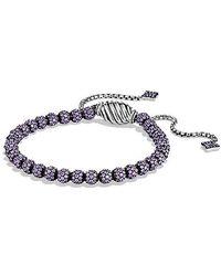 David Yurman - Petite Pavé Bracelet With Purple Sapphire - Lyst