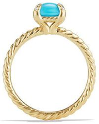 David Yurman - Chatelaine Ring With Turquoise And Diamonds In 18k Gold, 7mm - Lyst