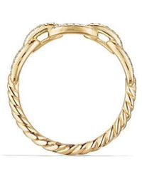 David Yurman - Stax Single Row Pave Chain Link Ring With Diamonds In 18k Gold, 4.5mm - Lyst