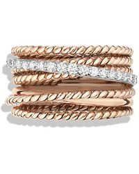 David Yurman - Crossover Wide Ring With Diamonds In 18k Rose Gold - Lyst