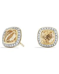 David Yurman - Albion® Earrings With Champagne Citrine And Diamonds In 18k Gold, 7mm - Lyst