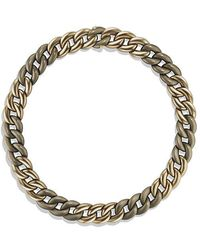 David Yurman - Belmont Curb Link Necklace In Titanium With An Accent Of 18k Gold - Lyst