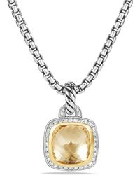 David Yurman - Albion® Pendant With Champagne Citrine, Diamonds And 18k Gold, 14mm - Lyst