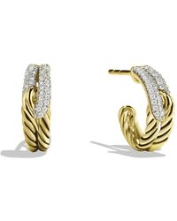 David Yurman - Labyrinth Huggie Earrings With Diamonds In 18k Gold - Lyst