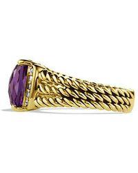 David Yurman | Petite Wheaton Ring With Amethyst And Diamonds In 18k Gold | Lyst