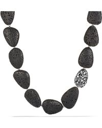 David Yurman - Dy Signature Collection Naturals Bead Necklace With Canary Lava And Diamonds - Lyst