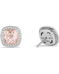 David Yurman | Albion Earrings With Morganite, Diamonds And 18k Rose Gold, 7mm | Lyst