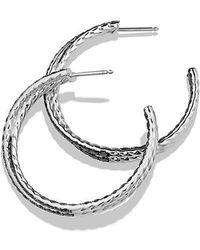 David Yurman - Crossover Hoop Earrings With Black Diamonds In 18k White Gold - Lyst