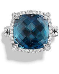 David Yurman - Chatelaine Pave Bezel Ring With Hampton Blue Topaz And Diamonds, 14mm - Lyst