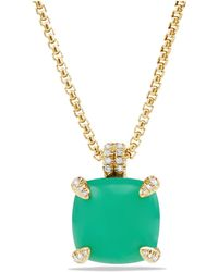 David Yurman - Châtelaine® Pendant Necklace With Chrysoprase And Diamonds In 18k Gold, 14mm - Lyst