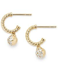 David Yurman | Petite Solari Hoop Pave Earrings With Diamonds In 18k Gold | Lyst