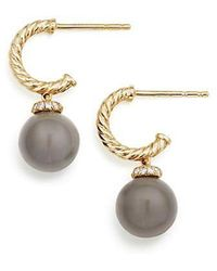 David Yurman - Solari Hoop Earrings With Diamonds And Grey Moonstone In 18k Gold - Lyst