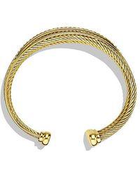 David Yurman   Crossover Four-row Cuff Bracelet With Diamonds In 18k Gold, 23mm   Lyst