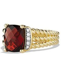 David Yurman - Petite Wheaton Ring With Garnet And Diamonds In 18k Gold - Lyst