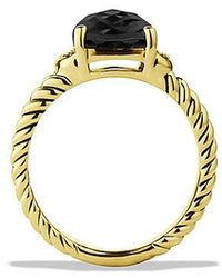David Yurman - Petite Wheaton Ring With Black Onyx And Diamonds In 18k Gold - Lyst
