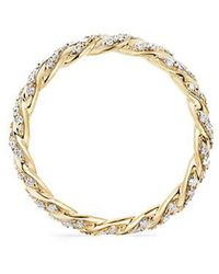 David Yurman - Paveflex Ring With Diamonds In 18k Gold, 2.7mm - Lyst