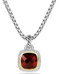 David Yurman - Albion® Pendant With Garnet, Diamonds And 18k Gold, 11mm - Lyst