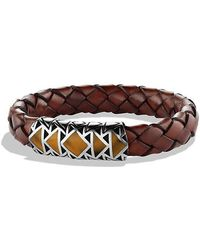 David Yurman - Southwest Bracelet With Tiger's Eye In Brown Leather - Lyst