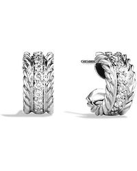 David Yurman - Cable Classics Earrings With Diamonds - Lyst