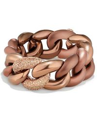 David Yurman - Belmont Curb Link Bracelet With Cognac Diamonds In Titanium With An Accent Of 18k Rose Gold - Lyst