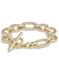 David Yurman - Cushion Chain Link Bracelet With Diamonds In 18k Gold - Lyst
