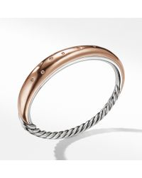 David Yurman - Pure Form® Mixed Metal Smooth Bracelet With Diamonds, Bronze And Silver 9.5mm - Lyst
