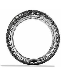 David Yurman - Crossover Ring With Black Diamonds In 18k White Gold - Lyst