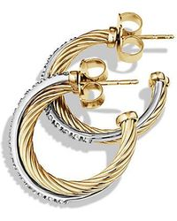 David Yurman | Crossover Small Hoop Earrings With Diamonds In 18k Gold | Lyst