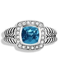 David Yurman | Petite Albion® Ring With Hampton Blue Topaz And Diamonds | Lyst
