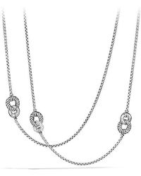 David Yurman - Belmont Curb Link Four Station Chain Necklace With Diamonds - Lyst