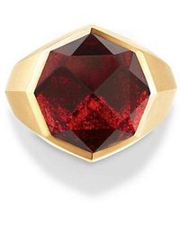 David Yurman - Dy Fortune Faceted Signet Ring With Garnet In 18k Gold - Lyst