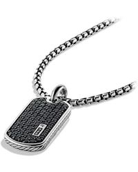 David Yurman - Pavé Tag With Black Diamonds - Lyst
