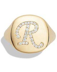 David Yurman | Dy Initial Pinky Ring With Diamonds In 18k Gold | Lyst