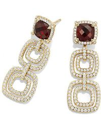 David Yurman | Châtelaine Pave Bezel Triple Drop Earring With Garnet And Diamonds In 18k Gold | Lyst