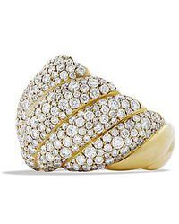 David Yurman - Hampton Cable Ring With Diamonds In 18k Gold - Lyst