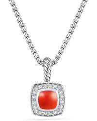 David Yurman - Petite Albion® Pendant Necklace With Carnelian And Diamonds - Lyst