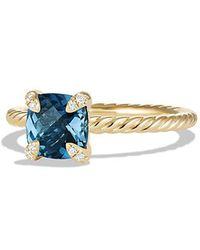 David Yurman - Chatelaine Ring With Hampton Blue Topaz And Diamonds In 18k Gold, 7mm - Lyst