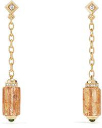 David Yurman - Barrels Chain Drop Earrings With Imperial Topaz, Green Garnet And Diamonds In 18k Gold - Lyst