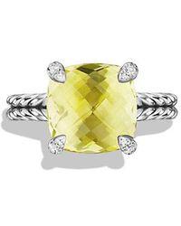 David Yurman - Châtelaine Ring With Lemon Citrine And Diamonds, 11mm - Lyst