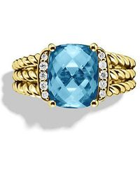David Yurman | Petite Wheaton Ring With Hampton Blue Topaz And Diamonds In 18k Gold | Lyst