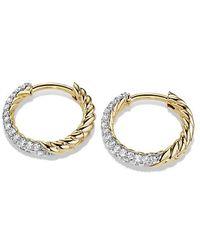 David Yurman - Petite Pave Huggie Hoop Earrings With Diamonds In 18k Gold - Lyst