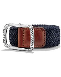 David Yurman - Maritime Cable Buckle With Blue Woven Belt - Lyst
