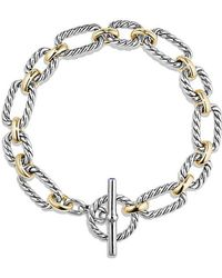 David Yurman - Cushion Link Bracelet With Blue Sapphires And 18k Gold - Lyst