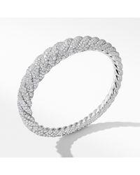 David Yurman - Pure Form® Cable Diamond Bracelet In 18k White Gold - Lyst