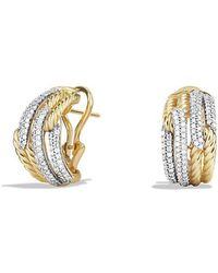 David Yurman - Labyrinth Double-loop Earrings With Diamonds In 18k Gold - Lyst