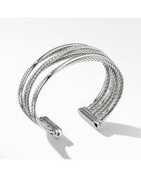 David Yurman - Crossover Four-row Cuff With Diamonds - Lyst