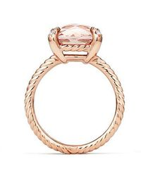 David Yurman - Chatelaine® Ring With Morganite And Diamonds In 18k Rose Gold, 11mm - Lyst