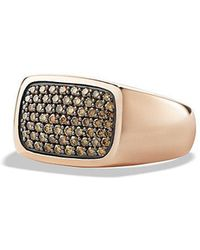 David Yurman - Pave Signet Ring With Cognac Diamonds In 18k Rose Gold - Lyst