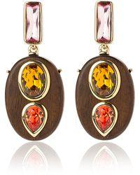 Oscar de la Renta | Wooden Crystal Earrings | Lyst